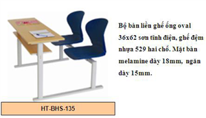 Bộ bàn liền ghế ống Oval